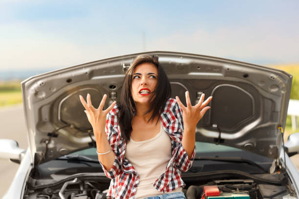 Madness due to broken car stock photo