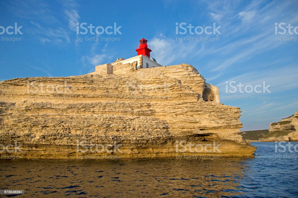 Madonetta lighthouse, entrance to Gulf of Bonifacio, Southern Corsica, France royalty-free stock photo
