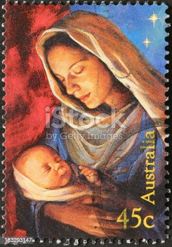 Madonna and baby Jesus on Australian postage stamp
