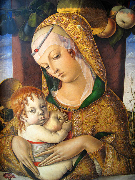 madonna and child by carlo crivelli 1480ad - renaissance stock pictures, royalty-free photos & images
