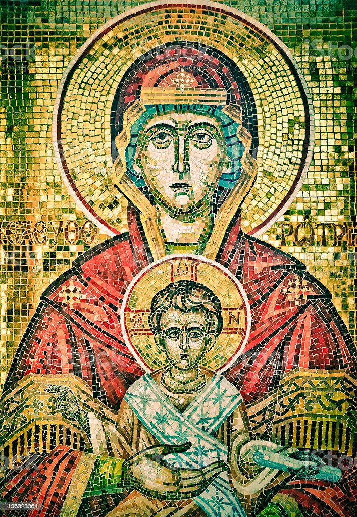 Madonna and child. Golden - green icon royalty-free stock photo