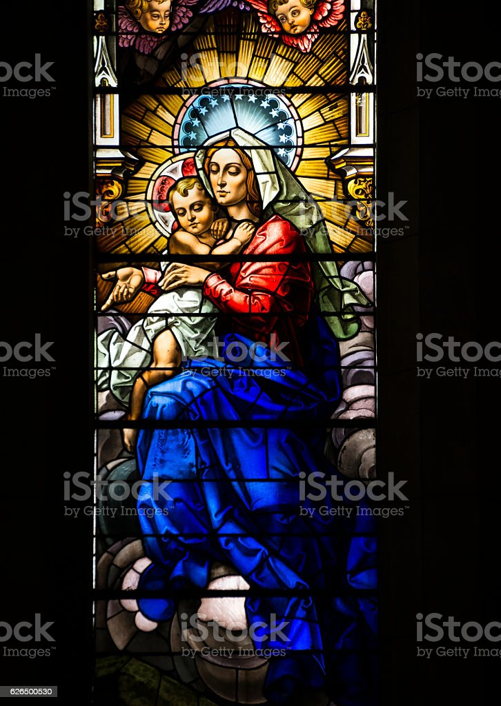 Madonna and Child stained glass window in Havana, Cuba stock photo