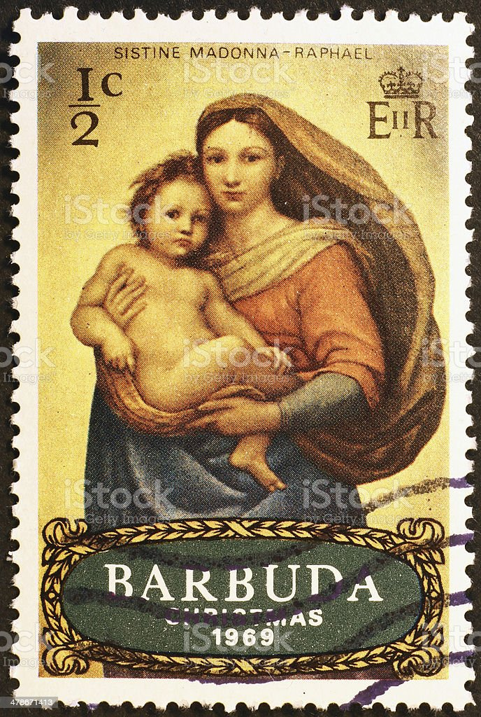 Madonna by Raphael in Sistine Chapel on stamp stock photo