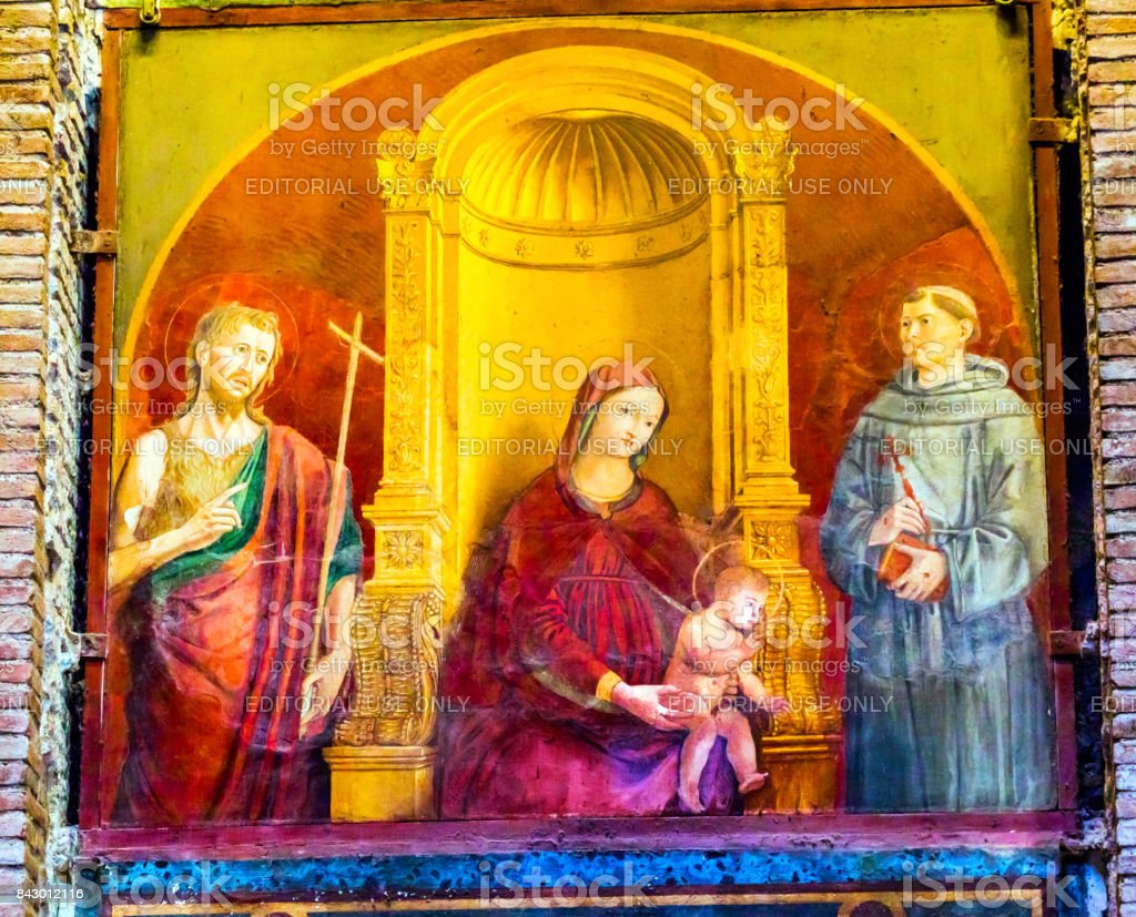 Madonna Clemency Mary Jesus Painting Pantheon Rome Italy stock photo