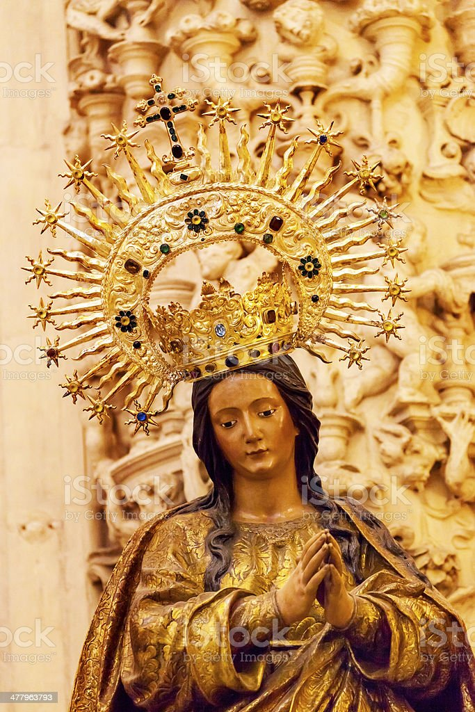 Madonna Crown Statue Seville Cathedral Spain royalty-free stock photo