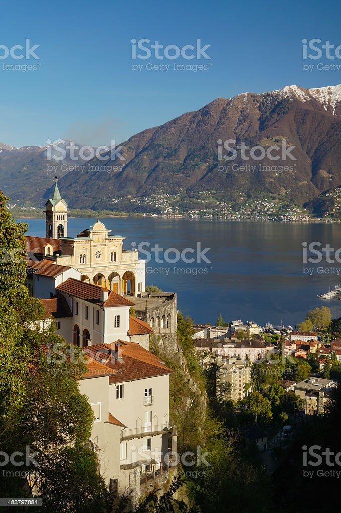 Madonna del Sasso and lake Maggiore at Locarno, Switzerland stock photo