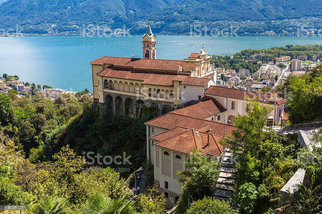 Madonna del Sasso Church in Locarno stock photo