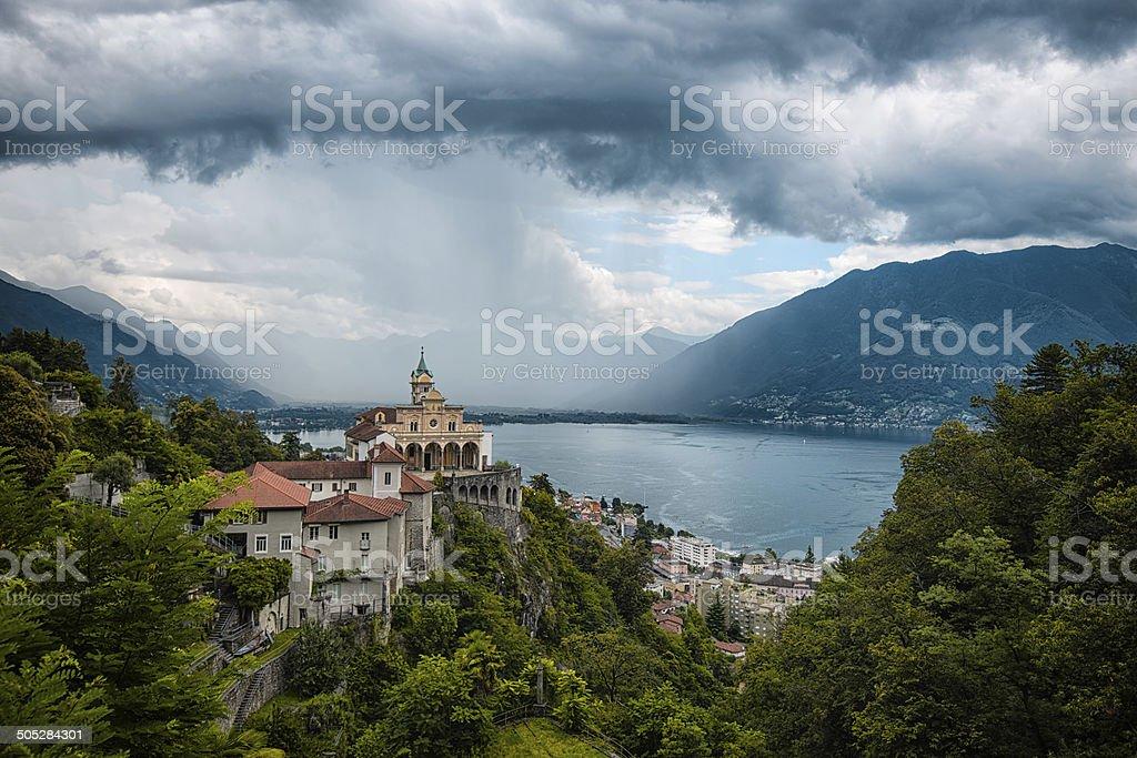Madonna del Sasso, Locarno, Switzerland stock photo