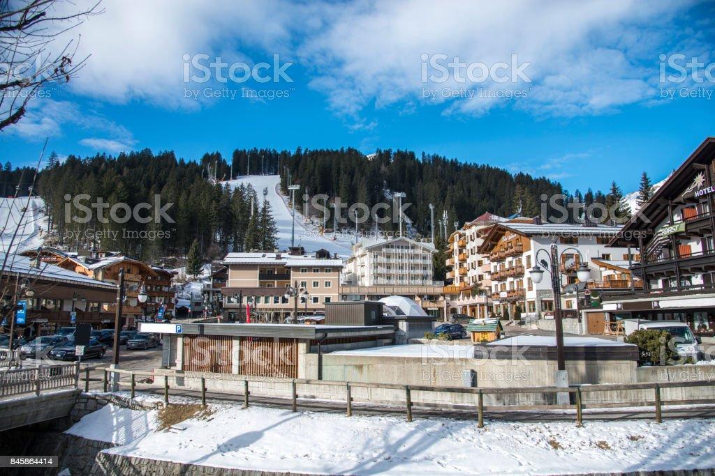 Madonna di campiglio, Italy- May 8, 2017 : Madonna di campiglio Ski resort stock photo