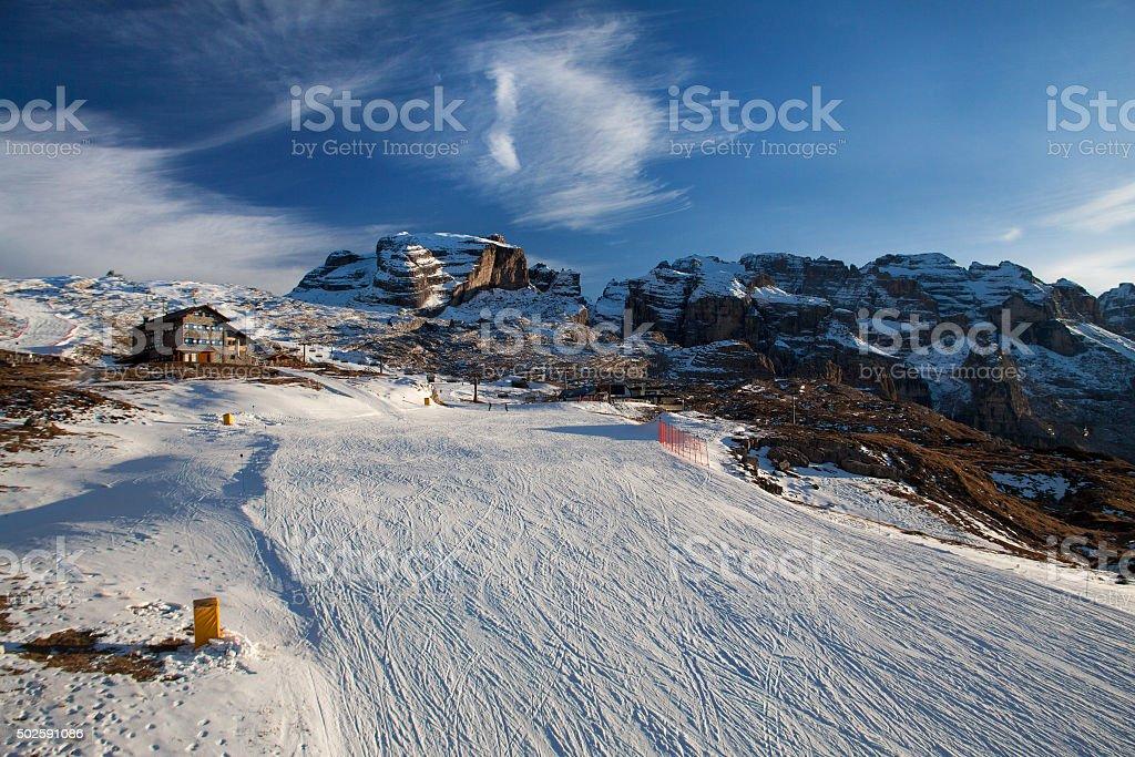 Madonna di Campiglio ski slopes, Italy stock photo