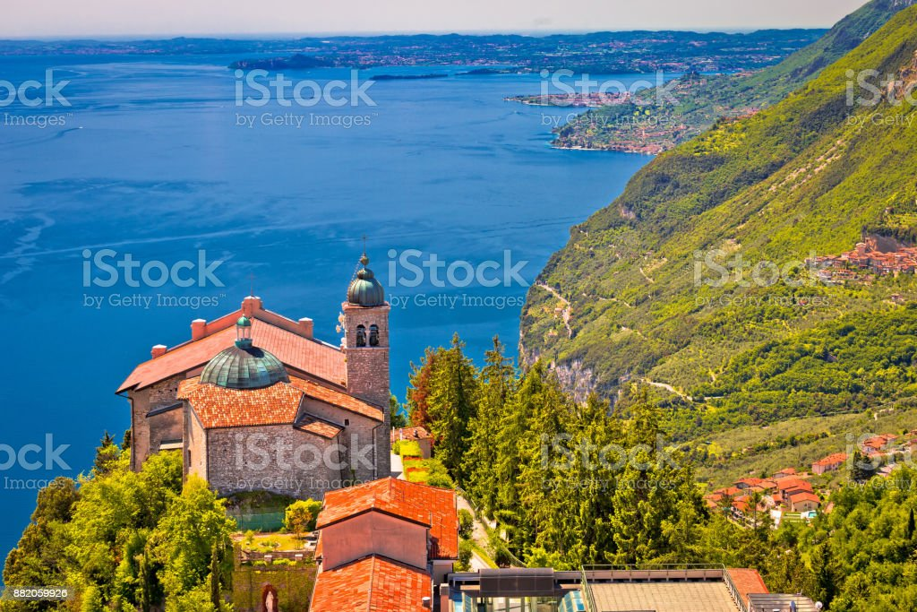 Madonna di Montecastello hermitage above Lago di Garda view, Lombardy, Italy stock photo