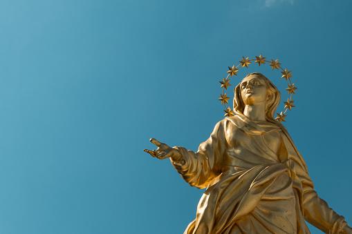 Madonna Golden Statue Perfect Bronze Replica in Milan, Italy