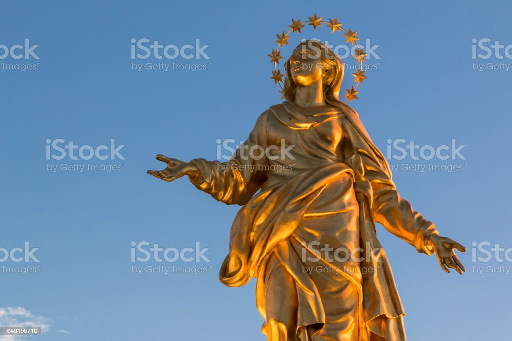 Madonna Golden Statue Perfect Bronze Replica in Milan, Italy stock photo