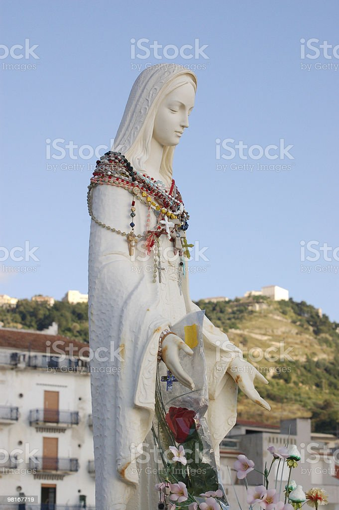 Madonna with rosaries royalty-free stock photo