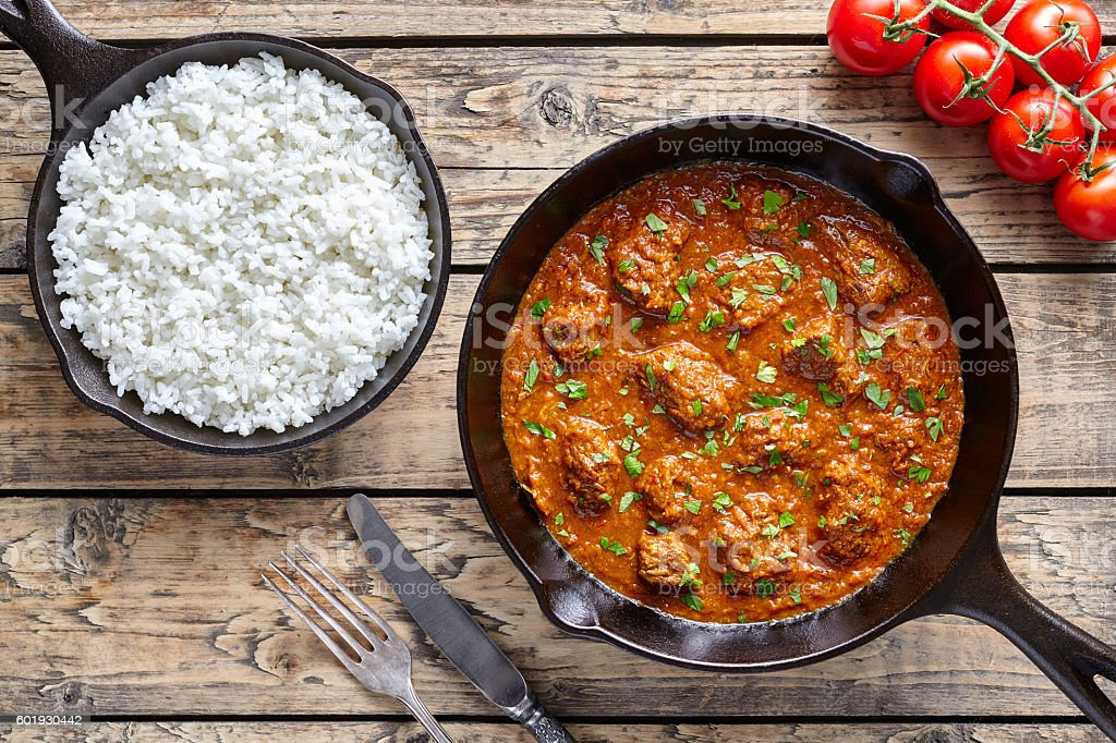 Madras butter beef traditional slow cook Indian spicy chili lamb - foto de acervo