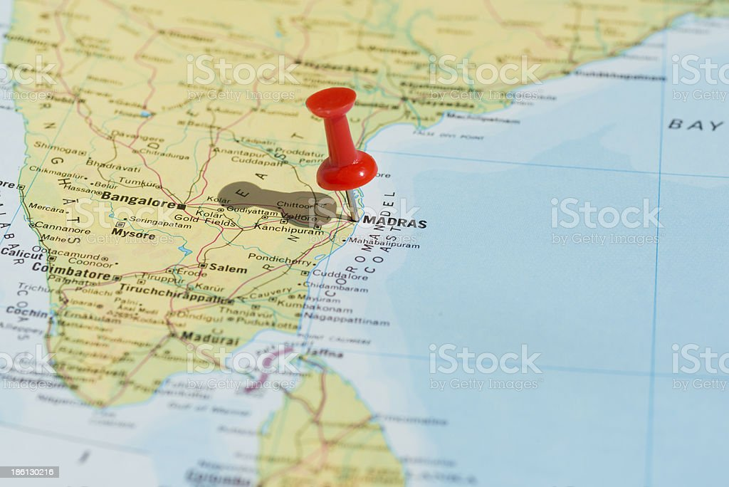 Madras Marked on Map with Red Pushpin stock photo