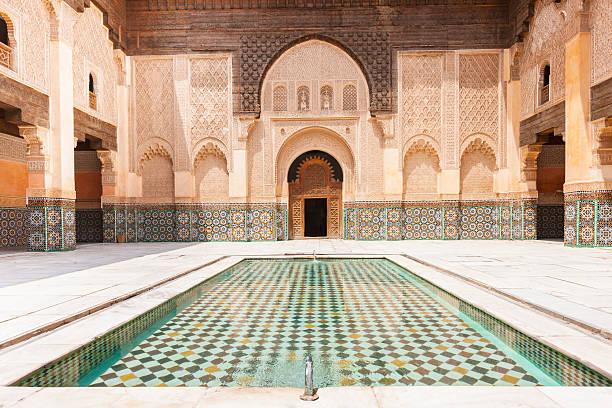 madrassa ali ben youssef marrakech morocco - marocko bildbanksfoton och bilder