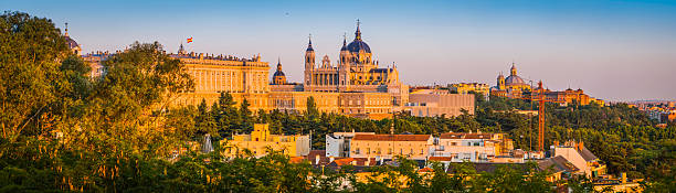 Madrid Almundena Cathedral and Palacio Real sunset cityscape panorama Spain stock photo