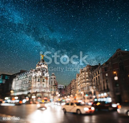 Gran Via in Madrid, Spain, at night