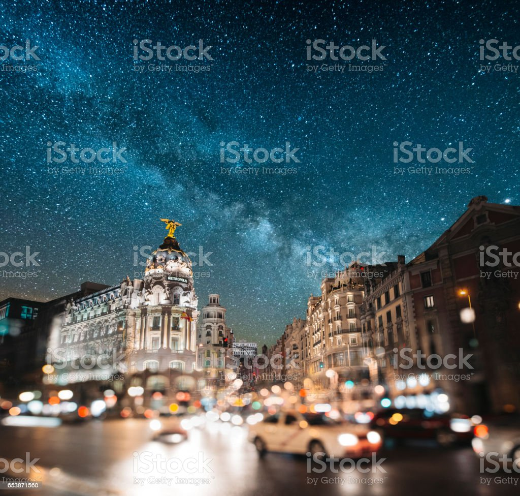 Madrid at night - Gran Via stock photo