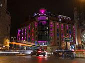 Madrid, Spain - October 26, 2018: Hotel Santo Domingo illuminated at night. Image taken from Plaza de Santo Domingo.