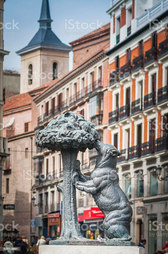 Madrid Bear and Strawberry Tree statue Puerta del Sol Spain stock photo