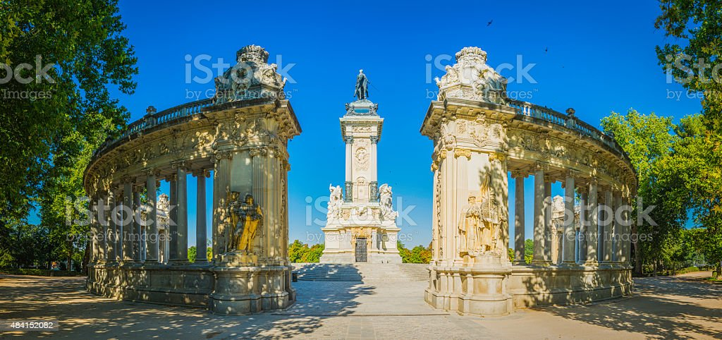 Madrid Buen Retiro Park tranquil oasis in summer cityscape Spain stock photo