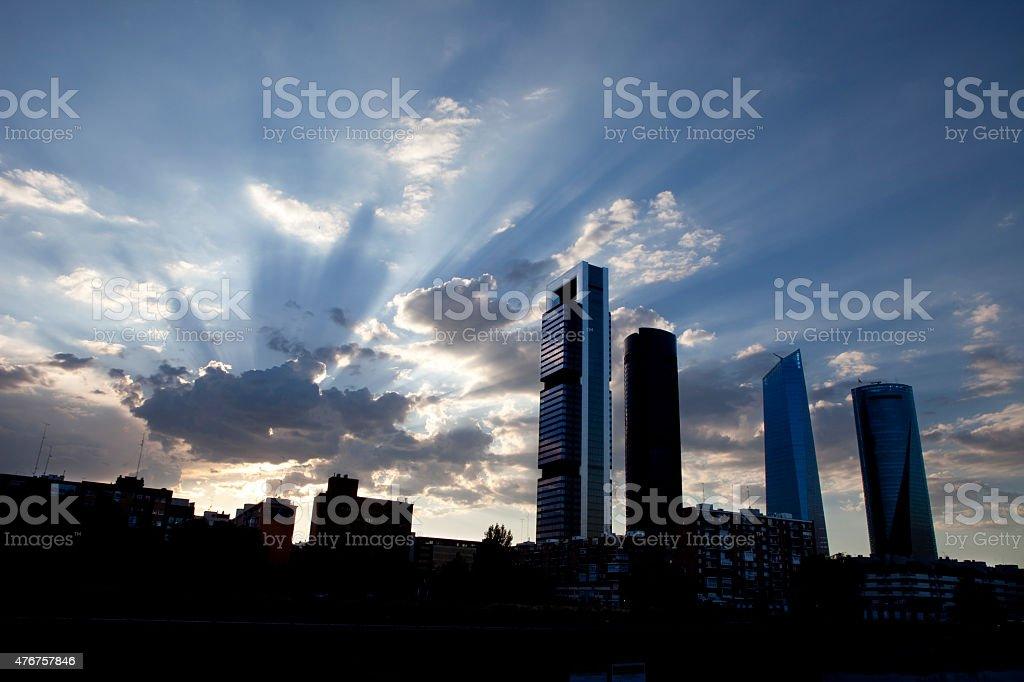 Madrid buildings at dawn. stock photo