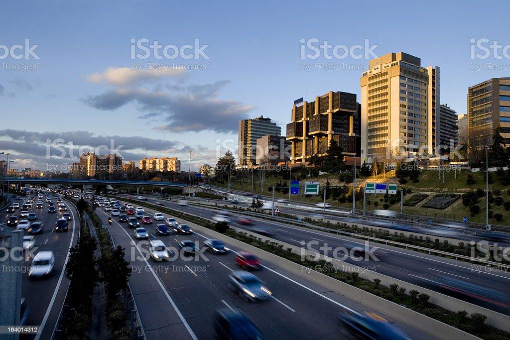 Madrid buildings near beltway stock photo