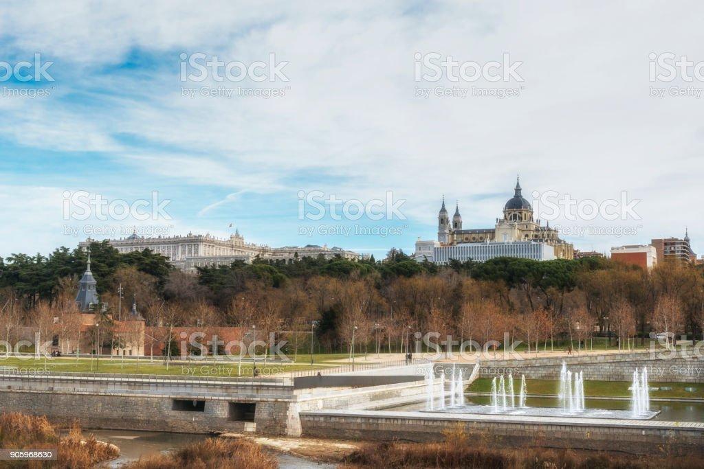 Madrid Cathedral Santa Maria la Real and the Royal Palace. View from the Manzanares river. Madrid, Spain. stock photo