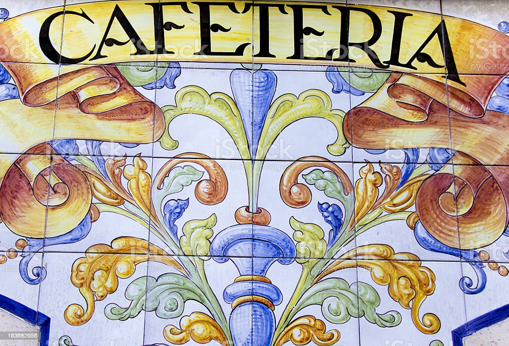 """Madrid ceramic facade with tiles """"cafeteria"""" royalty-free stock photo"""