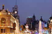 Madrid city center illuminated at Christmas time