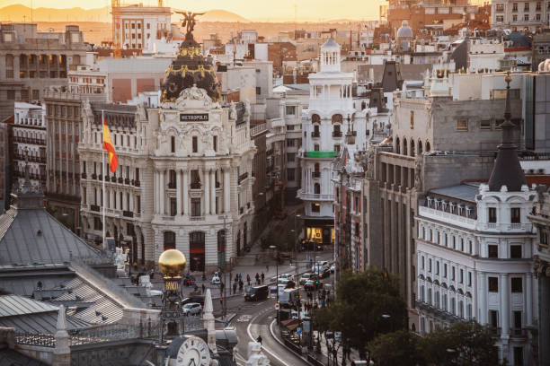 Madrid city centre from above at sunset stock photo
