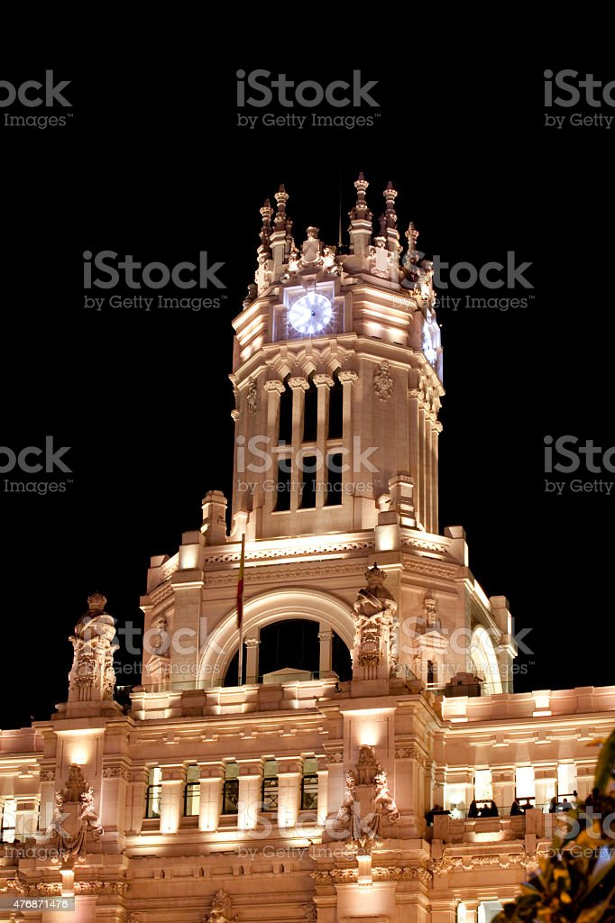 Madrid City Council Tower Watch. stock photo