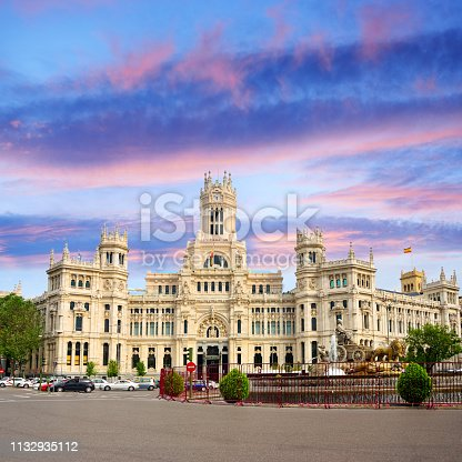Palace of Communication on the Plaza de Cibeles in Madrid, Spain. Composite photo
