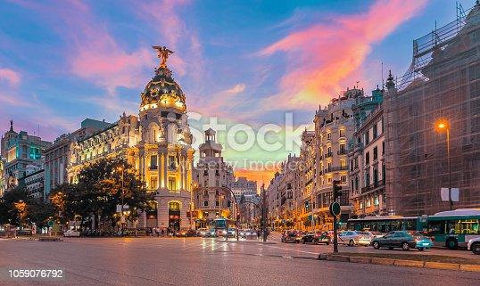 istock Madrid city skyline gran via street twilight , Spain 1059076792