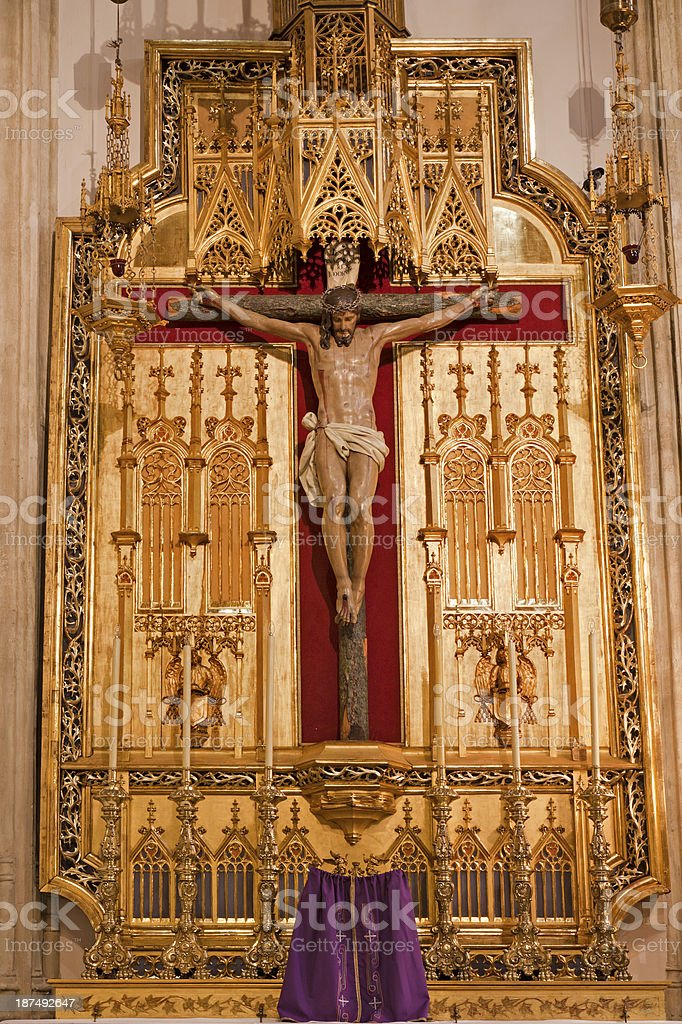 Madrid - Crucifixion from San Jeronimo el Real stock photo