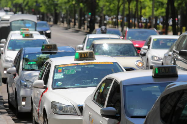 Madrid downtown heavy traffic cityscape Spain stock photo