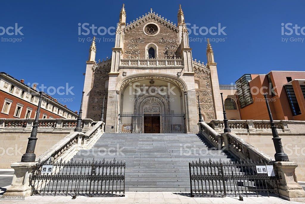 Madrid - facade of gothic church San Jeronimo el Real stock photo