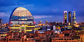 Financial district in Madrid with 4 Torres, Kio towers and La Vela (BBVA city). Spain
