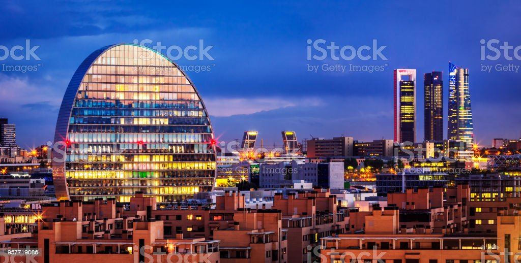 Madrid Financial district skyline at dusk. Spain stock photo