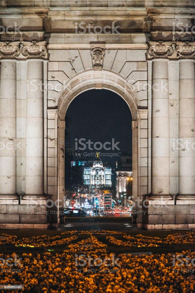 Madrid from Puerta de Alcalá stock photo