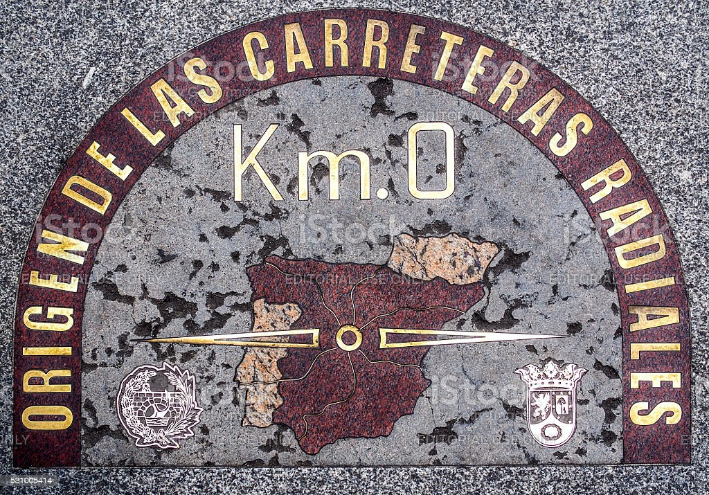 Madrid 'Km.0' sign stock photo