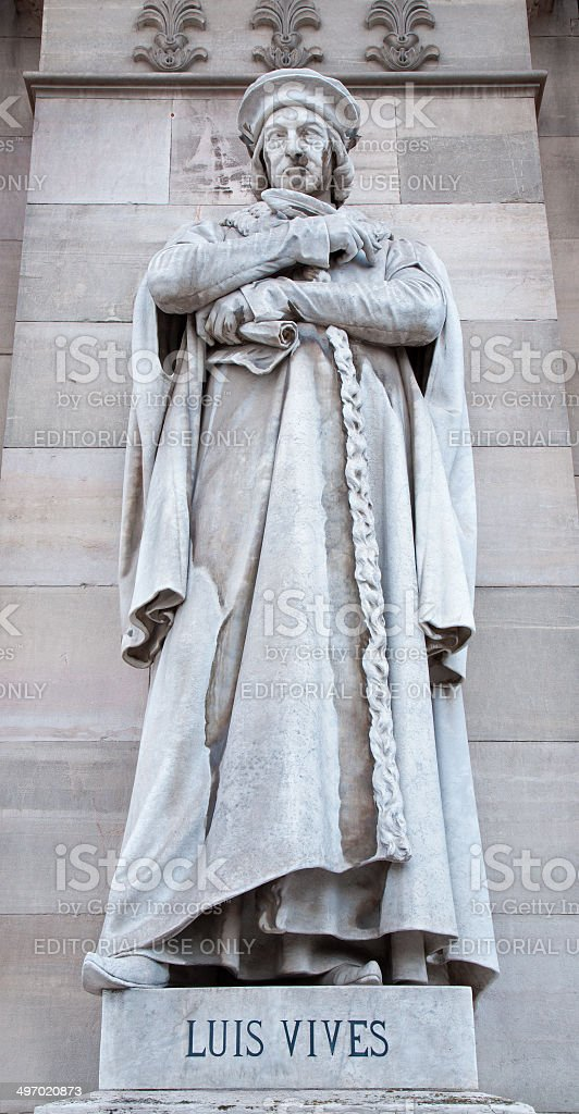 Madrid - Luis Vives on Portal of National Archaeological Museum stock photo
