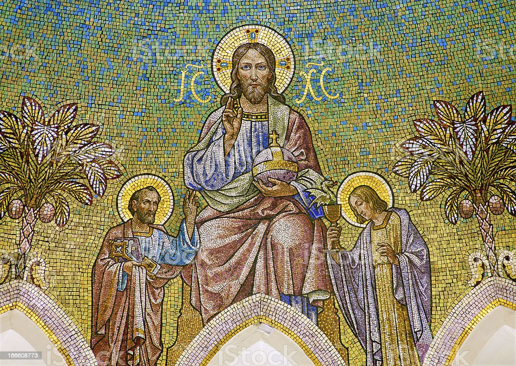 Madrid - Mosaic of Christ with apostle Peter and John royalty-free stock photo