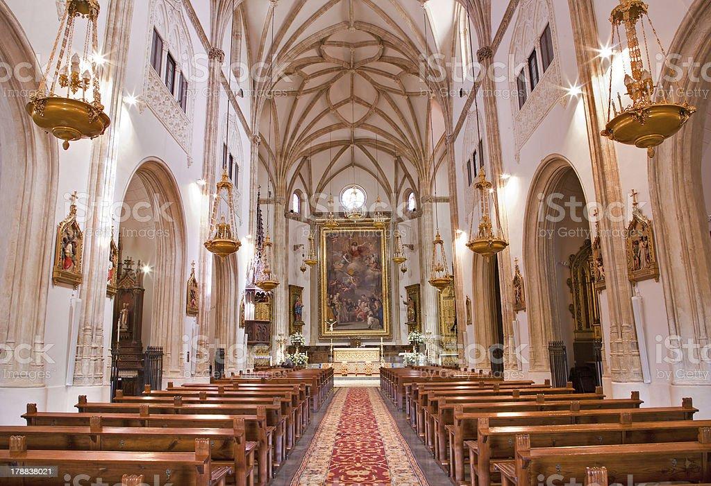 Madrid - Nave of church San Jeronimo el Real stock photo