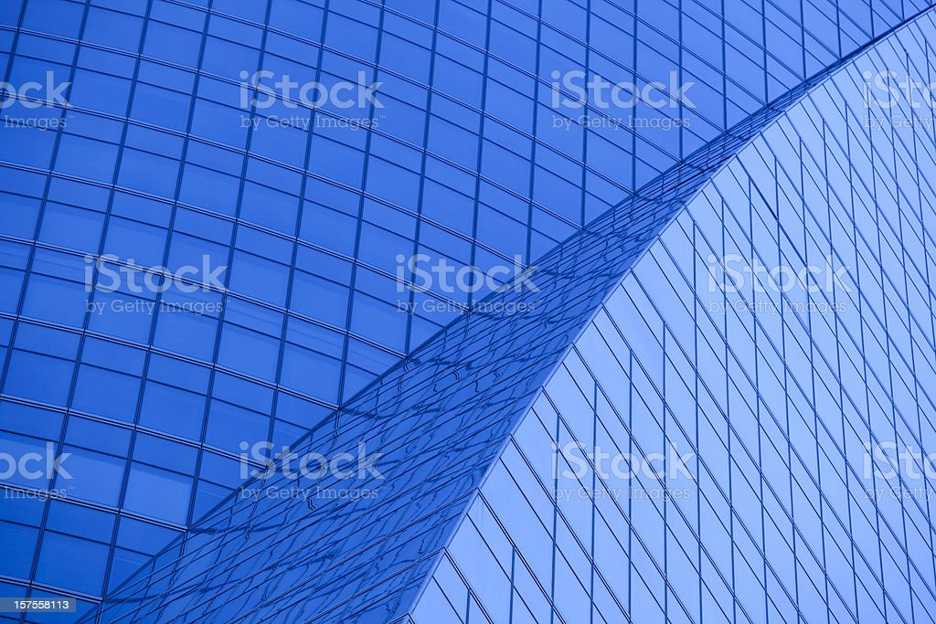Madrid Office Building Exterior, Tungsten Blue Light Effect royalty-free stock photo
