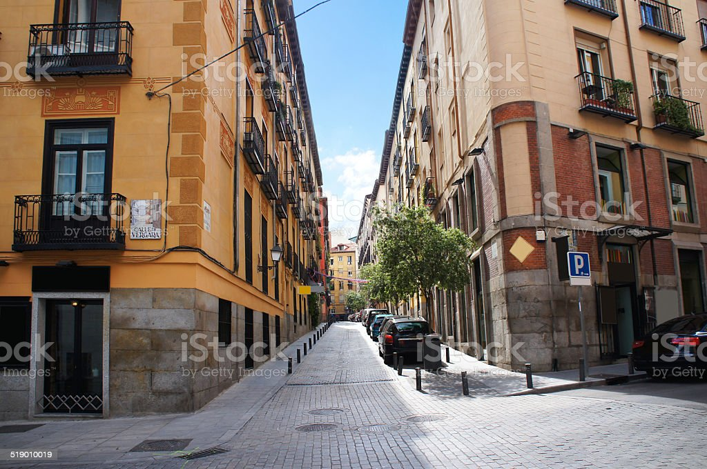 Madrid old quarter street stock photo