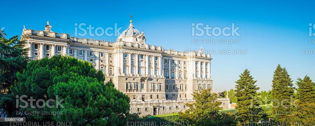 Madrid Palicio Real beside the Plaza de Oriente panorama Spain stock photo