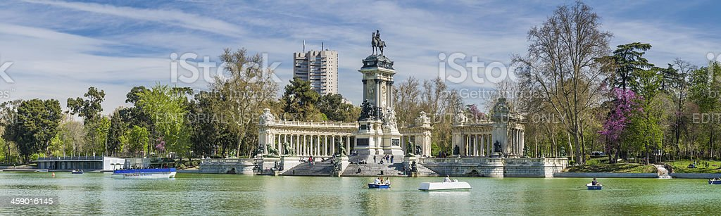 Madrid people enjoying spring in Retiro Park Spain stock photo